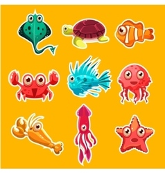 Many species of fish and marine animal life vector