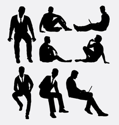 Man sitting silhouettes vector