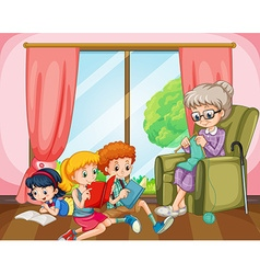 Children reading and old lady knitting vector image