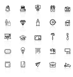 Art and creation line icons with reflect on white vector