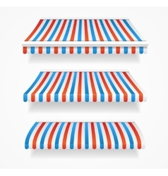 Striped colorful awnings set vector