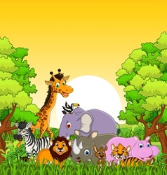 Animal wildlife cartoon with forest background vector