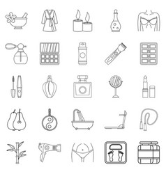 Beauty shop icons set outline style vector