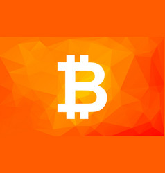 bitcoin sign on low poly orange background vector image vector image