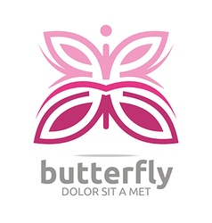 Butterfly leaf pink insect spring symbol vector