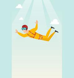 Caucasian parachutist jumping with a parachute vector