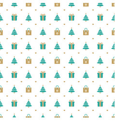 christmas seamless pattern with christmas tree vector image