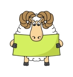 Cute hand sheep with blank banner vector