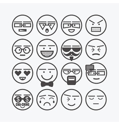 cute line black circle emoticons set vector image
