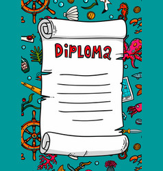 Diploma in sea style template scroll on a hand vector