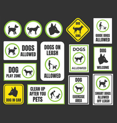 Dogs friendly sign pet allowed set dog in car vector