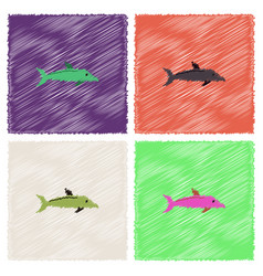Dolphin delphinus delphis in hatching style vector