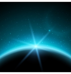 Eclipse planet in space in blue rays of light vector image