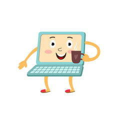 Flat funny laptop character with coffee vector