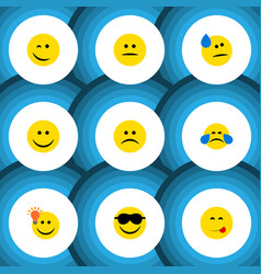 Flat icon emoji set of happy sad displeased and vector