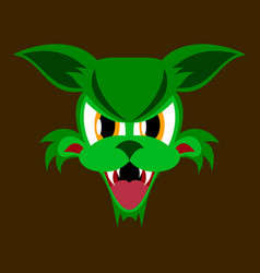 Flat icon on theme angry cat animal vector