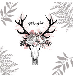 Magic horn deer floral vector