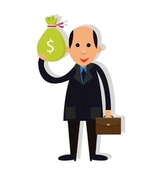 Man businessman bald holding money corrupt vector