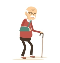Old man with broken arm vector