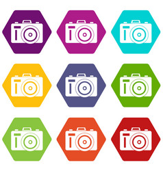Photocamera icon set color hexahedron vector