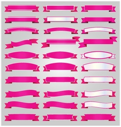Pink ribbons set vector image