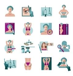 Plastic surgery flat icons set vector image