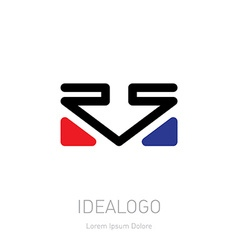 Rs logo logotype template with arrow and triangles vector