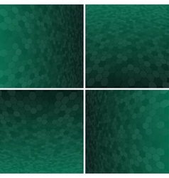 Set green honeycomb background vector