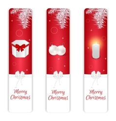 Set of three vertical christmas banner red and vector