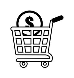 Shopping cart online coin dollar outline vector