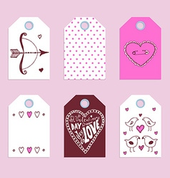 Sketch Valentines tags vector image