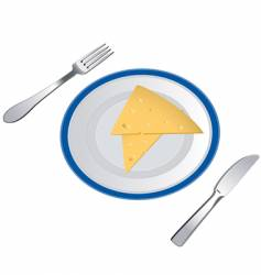 slices of cheese on plate vector image
