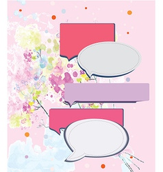Speak frame on romantic floral background vector image vector image