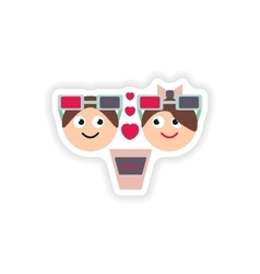 Stylish paper sticker on white background boy and vector