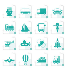 stylized transportation travel and shipment icons vector image vector image