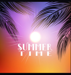 Summer palm tree background vector