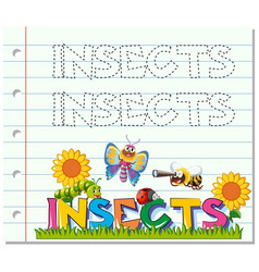 Tracing worksheet for word insects vector