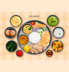 Traditional gujarati cuisine and food meal thali vector