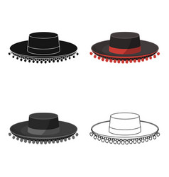 Traditional spanish hat icon in cartoon style vector