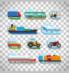 transportation icons on transparent background vector image vector image
