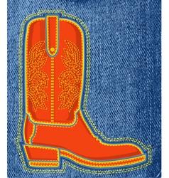Cowboy shoe on blue jeans background boot symbol vector image