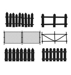 Rural wooden fences pickets silhouettes vector