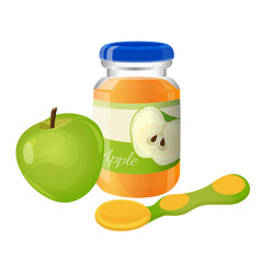 Glass jar of puree with spoon and green apple near vector