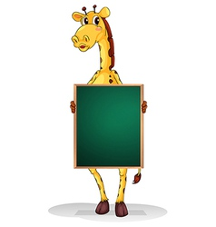 A giraffe holding an empty board vector image