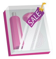 Box with cosmetics and sale label isolated on vector