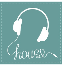 White headphones with cord in shape of word house vector