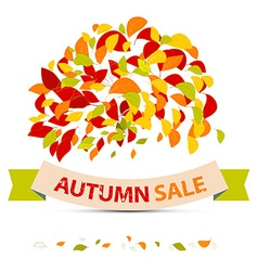 Abstract Autumn Sale with Leaves on White Ba vector image