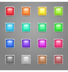 Square colored web buttons vector