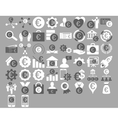 Euro business icons vector