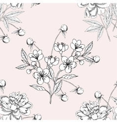 Seamless pattern with peony11-06 vector